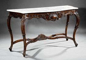 Continental Carved Walnut Console Table
