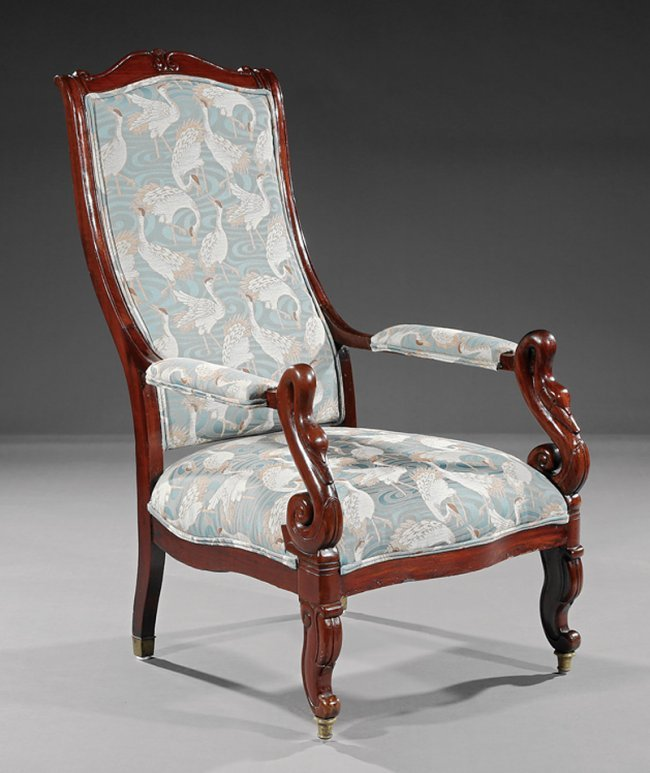 American classical mahogany chaise voltaire lot 519 for Chaise voltaire