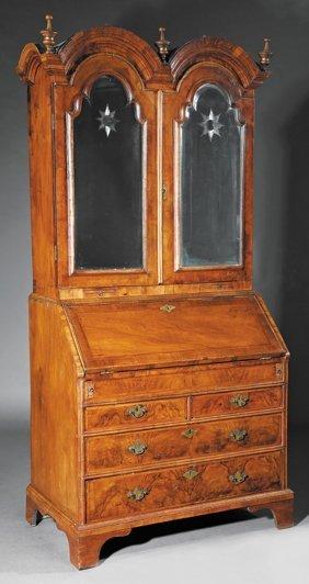 George I Figured Walnut Bureau Cabinet