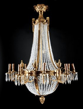 Gilt Bronze And Cut Crystal Ten-light Chandeliers