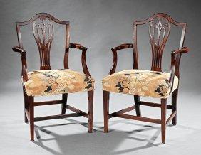 Pair Of George Iii-style Mahogany Armchairs