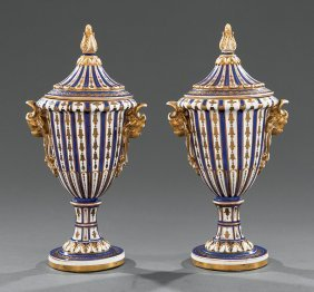 Pair Of Sevres-style Porcelain Covered Urns