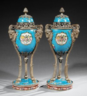 Pair Of Bronze-mounted Porcelain Lidded Urns