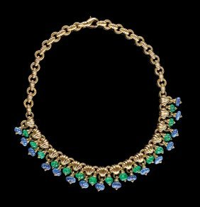 18 Kt. Yellow Gold, Emerald And Sapphire Necklace