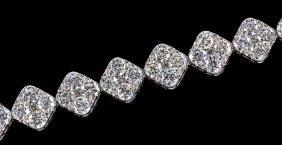 18 Kt. White Gold And Diamond Link Bracelet