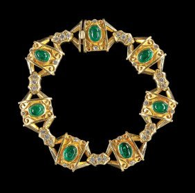 18 Kt. Yellow Gold, Emerald And Diamond Bracelet