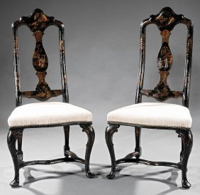 Lacquered Chinoiserie Decorated Side Chairs