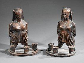 Continental Bronze Three-light Figural Sconces