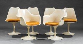 """Six Eero Saarinen Swivel Tulip Chairs, """"knoll"""""""
