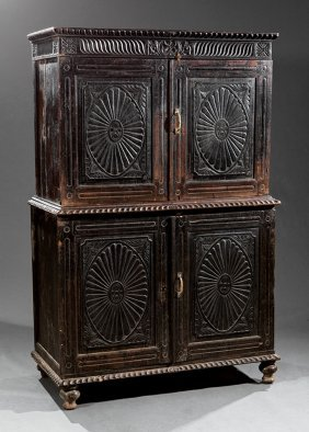 Anglo-colonial Ebonized, Carved Hardwood Cabinet