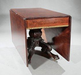 Gilt-stenciled, Carved Mahogany Drop-leaf Table