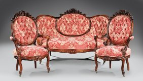 American Rococo Carved Rosewood Parlor Suite