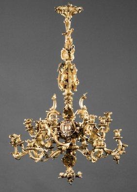 Gilt Bronze Twenty-one Light Chandelier