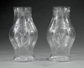 Pair Ofblown Glass Hurricane Shades