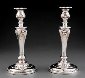 Pair Of Sheffield Fused Plate Candlesticks