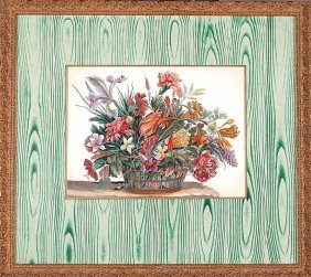 Pair Of Decorative Hand-colored Floral Prints