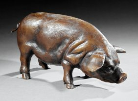 Patinated Bronze Figure Of A Pig