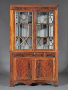 Federal-style Inlaid Mahogany Corner Cabinet
