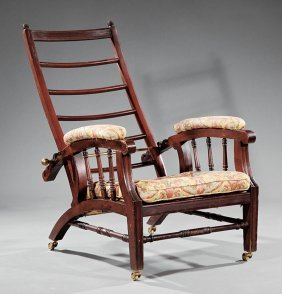 "American Carved Mahogany ""morris"" Chair"