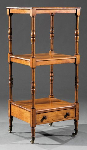 American Or English Carved Fruitwood Etagere