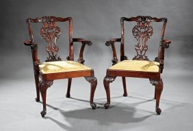 Chippendale-style Carved Mahogany Dining Chairs