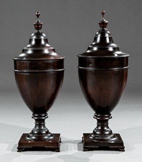 Pair Of George Iii-style Mahogany Cutlery Urns