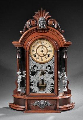 American Carved Walnut Mantel Clock