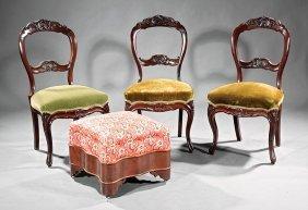 American Rococo Balloon-back Mahogany Side Chairs