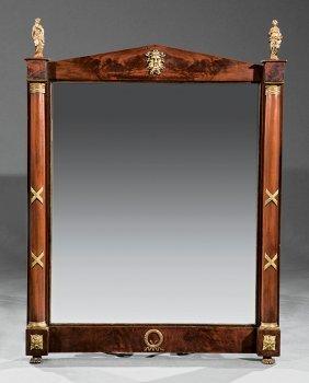 Empire-style Gilt Bronze-mounted Mahogany Mirror