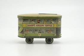 SHARPS KREEMY TOFFEE TROLLEY CAR TIN