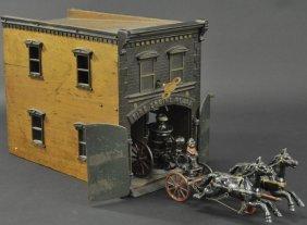 Ives Clockwork Fire House With Pumper