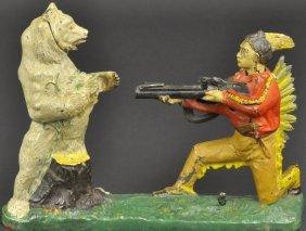 Indian Shooting (white) Bear Mechanical Bank