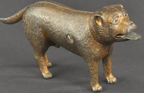 Bull Dog Standing - Coin In Tongue Mechanical Bank