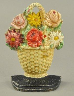 Spring Bouquet In Wicker Basket Doorstop