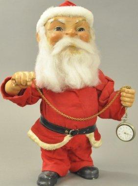 Large Nodding Santa W/pocket Watch