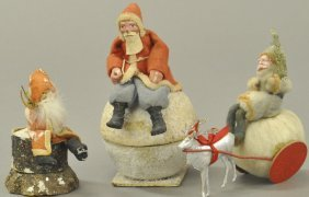 Three German Santa Candy Containers