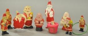 Grouping Of Ten Celluloid Santas