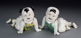 Two Chinese Porcelain Children