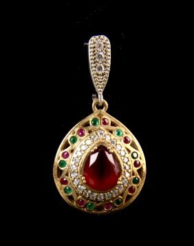 Silver Pendant With Emerald And Ruby