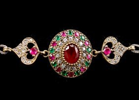 Silver Bracelet With Ruby And Emerald