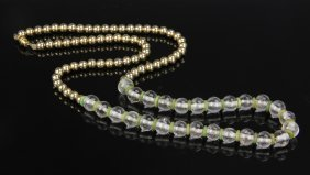 Crystal And Jade Bead Necklace