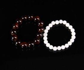 Chinese White Jade Bracelet & Red Agate Bracelet