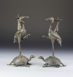 Pair Of Chinese Candle Sticks