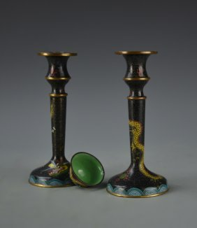 Cloisonne Candlesticks And Small Bowl