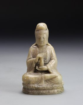 Chinese Soapstone Guanyin With Base