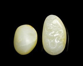 Two Chinese Jade Pebbles