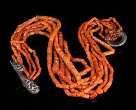 Chinese Coral Necklace With Silver Dragon Hooks