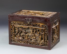 Chinese Antique Carved Wood Box