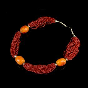 Coral Necklace With Three Amber Beads