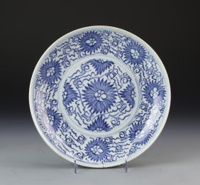 Chinese Export Blue And White Plate